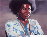 portrait de femme noire à la blouse bleue by carole benzaken