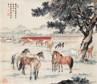 秋牧图 (horses) by guan songfang and ma jin