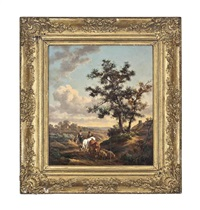 cattle drovers in a landscape by henry milbourne