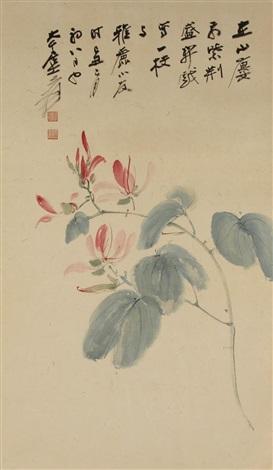 a flowering branch by zhang daqian