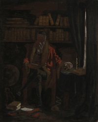 scholar in a library by frederic remington