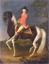 an equestrian portrait of a gentleman wearing a scarlet coat riding a skewbald hunter by david morier