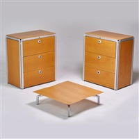 pair of file cabinets and low table by alvar aalto
