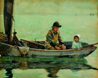fishing on the lake, a monhegan view by george wharton edwards