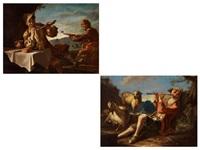 flötenspielender hirte im gras neben ziege und schaf (+ junger mann am tisch mit brot, käse und meerschaumpfeife, daneben ein mandolinenspieler; pair) by giacomo francesco cipper