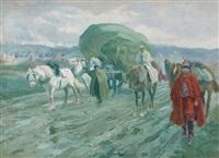 kavallerie mit einem wagen by louis dunki
