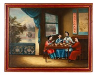 six chinese export painted panels each depicting figures within landscapes and interior scenes by youqua
