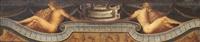 frontone di spinetta con due nudi manieristi, festoni e grottesche by parmigianino