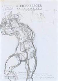 komposition (männlicher akt mit helm) by markus lüpertz