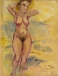 female nude, cape cod by george grosz