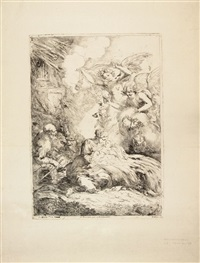 sacra famiglia con angeli by bartolomeo biscaino