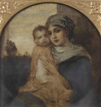 portrait of a mother and child, said to be the artist's wife frida scotta (1869-1949) and child, in a painted tondo by friedrich august von kaulbach