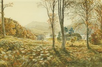 scottish autumn landscape, hunters walking through the forest with castle and mountains in the background by samuel bough