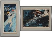 downhill skiers; surfers (2 works) by leroy neiman