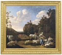 weite italienisierende landschaft mit hirten und ihren tieren an einem brunnen by nicolaes berchem