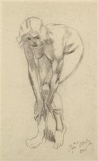 sich bückender weiblicher akt (+ auf dem boden sitzender weiblicher akt, brush and ink w/wash, 1930, lrgr; 2 works) by ferdinand dorsch