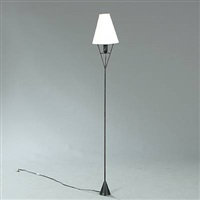 black cast floor lamp, white shade with optional placement which directs light up or down by carl auböck