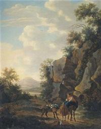 felsige südliche landschaft mit einer bäuerin auf einem esel by nicolaes berchem