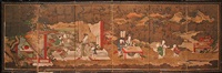 seated deity with frolicking karako (chinese children) in a garden landscape with fuji beyond by japanese school-tosa (19)