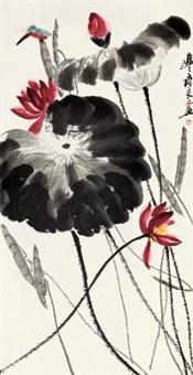 红荷翠鸟 by qi liangsi