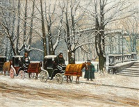 berlin winter street scene with coaches by kurt pallmann