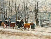berlin winter street scene with coaches by kurt pallmann