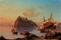 abendliche stimmung auf ischia mit dem castello aragonese by alessandro la volpe