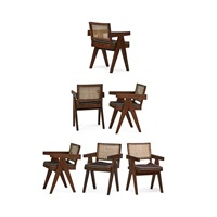 v-leg armchairs from the chandigarh administrative buildings (set of 6) by pierre jeanneret