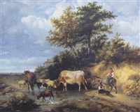young boy and dog with farmyard animals on a country road by j. sant