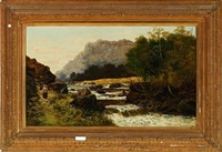 mountainous landscape with roaring river by c. austin
