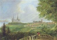 udsigt fra marienlyst terrasse mod kronborg og kärnan by carl anton saabye
