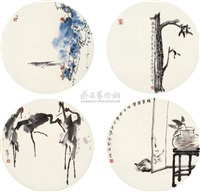 flowers and birds (4 works) by liu zhaoping