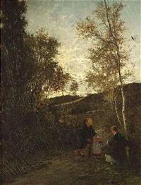 zwei frauen mit einem kind und hund in wolkenverhangener landschaft by theodor her