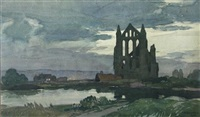 whitby abbey ruins at dusk by leonard russel squirrell