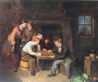interior scene with two boys playing draughts by william henley