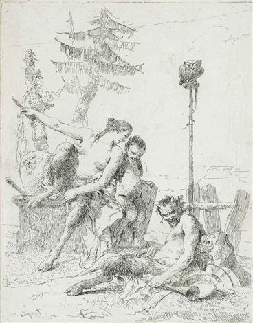the happy satyr and his family, plate 10 from: scherzi by giovanni battista tiepolo