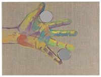 expressionistic hand holding double self portrait by jonathan monk
