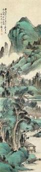 山水人家 立轴 设色纸本 by xiao junxian