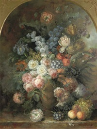 still life with flowers in an urn and fruit on a ledge by francois gabriel