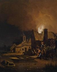 ein brennendes haus, unten rechts reste eines monogramms by egbert lievensz van der poel
