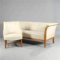 three seater sofa and arm chair (2 works) by frits henningsen