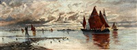 abendstimmung in der lagune vor venedig by eduard fischer