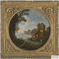 italienische küstenlandschaft mit einer fischerbucht und ruinen als rundbild by jacob de heusch