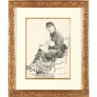 seated woman holding a child by charles paul renouard