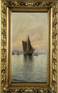 fischerboote und dampschiff vor der küste by j. gartner
