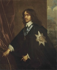portrait of general sir james hamilton, 1st duke of hamilton (1606-1649), three-quarter-length, in a brown coat and wearing the order of the garter by sir anthony van dyck