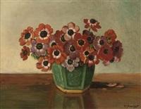 a vase of anemones by wilhelmus raaphorst
