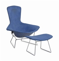 bird lounge chair and ottoman (2 works) by harry bertoia