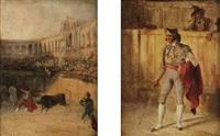 toréador. corrida (2 works) by genaro perez villaamil