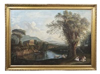 italianate landscape with distant roman ruins and three seated maidens and cattle at a fair by gaspare gabrielli